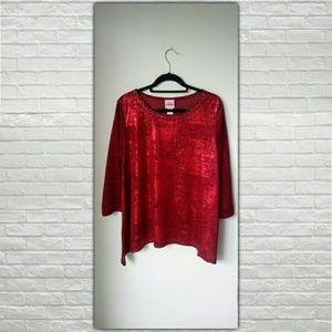 Ruby Road Women's Large Embellished Long Sleeve